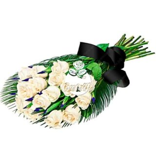 Траурен букет с 16 бели рози
