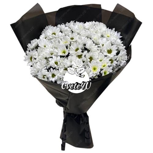 Траурен букет с бели хризантеми