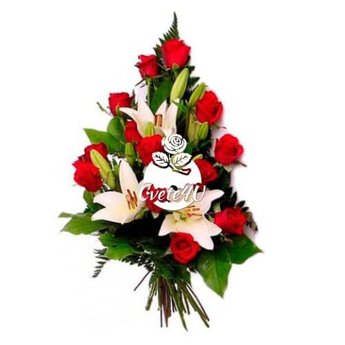 Траурен букет с рози и лилиум
