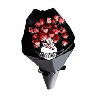 Траурен букет със спрей рози.