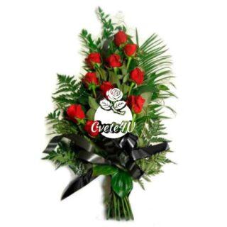 Траурен букет с 20 червени рози